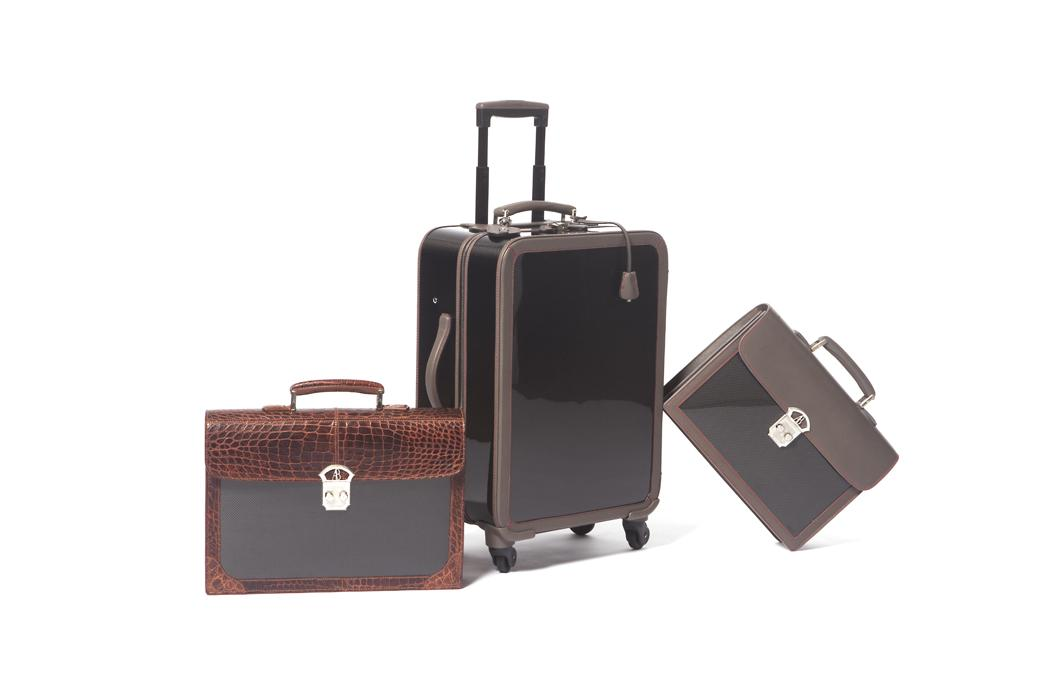 elite luxury accessories trolley briefcases mixed leather set